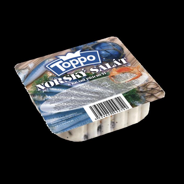 Návrh obalu - etiketa norského salátu TOPPO